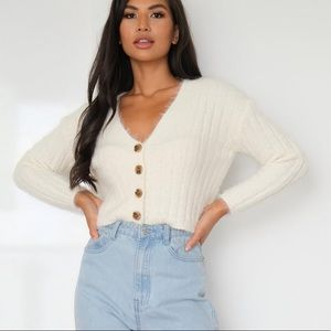 Misguided tall cream cropped cardigan